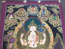 Lupenmalerei! Buddha THANGKA Avalokiteshvara Chenrezig TIBET Goldmalerei 83x59cm