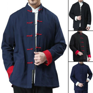 Men Traditional Chinese Tang Suit Jacket Bruce Lee Kung Fu Martial Arts Uniform