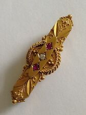 Finest Quality Antique Victorian 15ct Gold Etruscan Ruby & Diamond Set Brooch