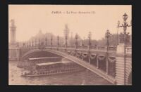 Le Pont Alexandre III deck arch bridge shows boats Seine Paris FRANCE Postcard
