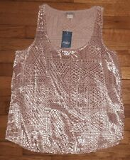 Lucky Brand Shirt Top Blouse Sleeveless Sz M Pink Geometric Casual NWT $80 s3804