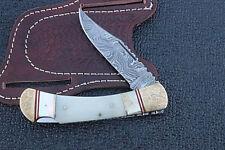 Handmade Damascus Folding Knife See shell perl camel bone Brass Engraved Bloster