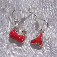 boucles d'oreilles percées crochets métal argenté «Maillot rouge »