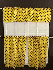 Poly Cotton Polka Dots/Spots Print 3-Piece Kitchen Valance/Tier Window Set