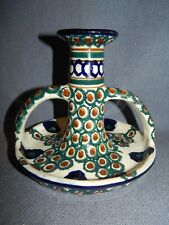 ANTIQUE ARTS & CRAFTS HAND PAINTED 2-HANDLED CANDLESTICK PEACOCK FEATHER DESIGN