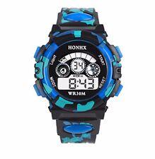 Big Dial Quartz Digital Wrist Watch Alarm Date Wristwatch Chrono Kids Blue BGbu)