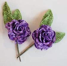 Set/2 Floral Flower Holiday Picks Purple Roses Green Leaves Heavily Glittered