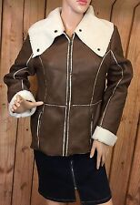 Style & co.Women's Brown Jacket Faux Leather Long Sleeve Size P/M