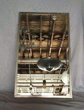 Antique 19x31 Industrial Bathroom Beveled Mirror Nickel Brass Frame Vtg 81-20E