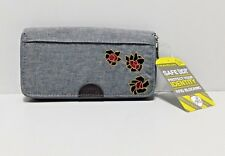 New Travelon RFID Wallet w/Box Zip Top Closure Gray Removeable Wristlet Strap