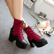 Womens Chunky High Heels Platform Lace Up Assorted Colors Boots Plus Size B110