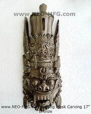 "Religious Barong Artifact Carved Mask Sculpture Statue 17"" Tall"