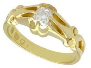 Antique 0.54 ct Diamond and 18k Yellow Gold Solitaire Ring