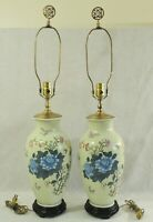 "Pair Antique/Vtg Chinese Asian 33"" Porcelain FLOWERS BIRDS Vase Table Lamps"