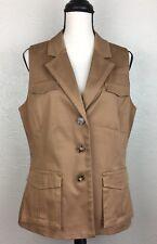New York & Company Women's Vest Button Front Sleeveless Size 12 Safari Brown