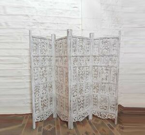 MADE TO ORDER Hand Carved Indian 4 Panel Screen White Washed Screen Room Divider
