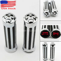 1'' Motorcycle Handle Bar Skull End Hand Grips For Yamaha Suzuki Honda Chrome US