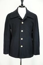VTG Saks Fifth Avenue Navy Blue Wool Pea Coat Horn Buttons 38R Small