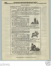 1919 PAPER AD 2 PG Curtis Garage Air Compressor Free From Oil 5 Models