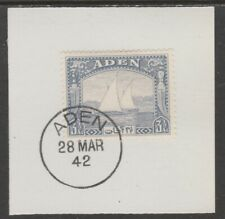 909519  ADEN 1937 DHOW  3.5a  on piece with  MADAME JOSEPH FORGED POSTMARK