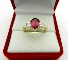 Promise 10k Yellow Gold Pear Shape Pink & White Topaz Ladies Ring size 7