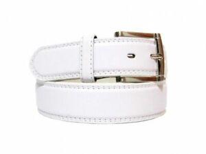 Men's Genuine Leather Belt Dressy Casual Adjustable Single Prong Silver Buckle