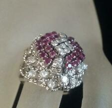 1950s 14k Solid W Gold High Dome Cocktail Genuine Diamond / Ruby Ring Size. 7.5
