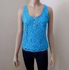 NEW Hollister Womens Crochet Tank Top Size XS/S Shirt Turquoise Blue
