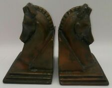 Antique Bookends HORSE Head Metal TROJAN Art Deco Copper RARE! Hollywood Regency