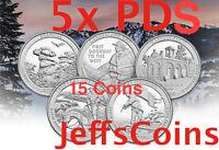 All 2016 National Park Quarters Complete 15 Coin P&D&S Set via3 US Mints PDS ATB