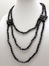 Ralph Lauren Multi Layer Crystal Necklace $128 Jet Black Glass Beads New! NWT