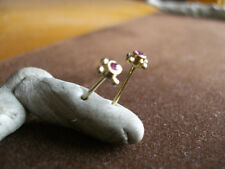 EARRINGS, 22ct GOLD PLATED OVER STERLING SILVER, REAL RUBY. FINE EARRINGS