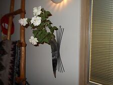 """A NEW 16"""" FLOWER VASE STEER COW HORN & METAL wall HOLDER,DRINK CUP STAND,DECOR"""