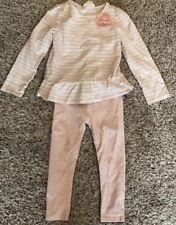 Crazy 8 Girls 2T Outfit Long Sleeve Shirt Leggings Pink White Stripe Flower