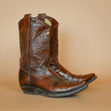 Mexicana Brown Leather Cowboy Biker Boots Vintage Women's UK 3.5 EUR 36 US 5.5