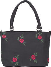 Coste carogna QUALITA Vintage embroidered ROSE CANVAS SHOPPER BAG BORSA Rockabilly