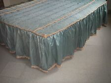 Bedspread Teal Blue Roping Braiding Full Size Satin Hollywood Glam/Regency.