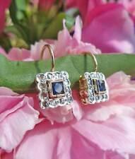 Art Deco Inspired 14ct Rose Gold Square Diamond Drop Earrings Sapphire