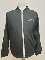 S742 MENS PUMA UB BLACK LIGHTWEIGHT FULL ZIP WINDBREAKER JACKET UK S EU 46