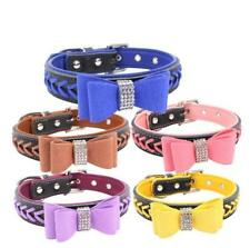 Braided Padded Leather Dog Collars with Rhinestone Bowknot for Small Large Dogs