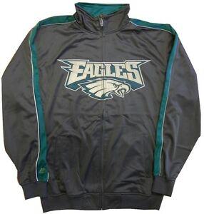 Philadelphia Eagles Mens Tricot Full Zip Track Jacket Charcoal Big & Tall Sizes