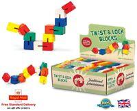 WOODEN TWIST & LOCK BLOCKS Girls Boys Fiddle Fidget Toy Gift Autism Stocking Toy