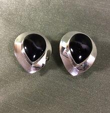 Vintage Antique S.E. Fine Sterling  Silver Onyx Gemstone Clip Earrings