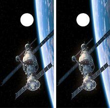 Space Station Cornhole Wrap Game Art Gameboard Vinyl Skin Set Sticker PO15