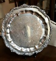 """1847 Rogers Bros 17"""" Heritage Round Silver Plate Serving Tray Platter 9473"""