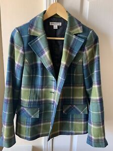 PENDLETON Women's Size 4 Plaid Wool Button Front Jacket Coat Suede Elbow Patch