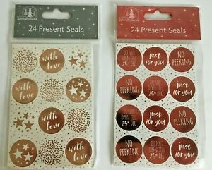 24 Glitter Christmas Stickers Labels Decorating Present Seals Xmas Envelope Gift
