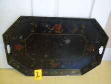 "VINTAGE LARGE OCTAGON TOLEWARE TOLE SERVING BUTLERS TRAY 26"" X 18"" HANDPAINTED"