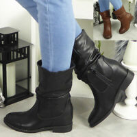 Ladies Wedge Boots Womens Mid Calf Rouched Hidden Heel Slouch Winter Shoes Size