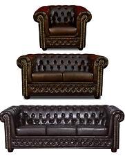 Chesterfield Sofa 3 + 2er Sitzer + Sessel Garnitur Couch Kunstleder Dunkelbraun